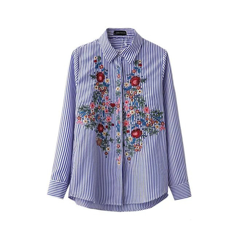 YSMILE Y 2017 Spring Autumn Blouse Shirt Fashion Women Full Sleeve Exquisite Embroidery Floral Shirts Female Stripe Shirts