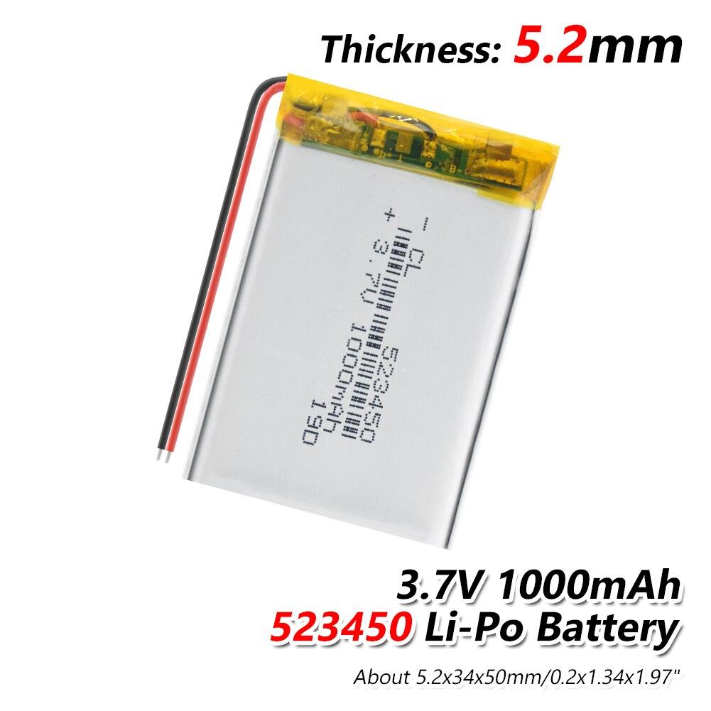 523450 3.7V 1000mAH,[503450] PLIB; Polymer Lithium Ion / Li-ion Battery For GPS Mp3 Mp4 Mp5 Dvd Bluetooth Model Toy LED Lamp