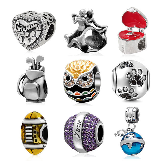 b4b90767f 925 Sterling Silver proposal ring box Rugby dancing couple Claws Beads  bijou fit for Pandora bracelets Necklace pandora charms