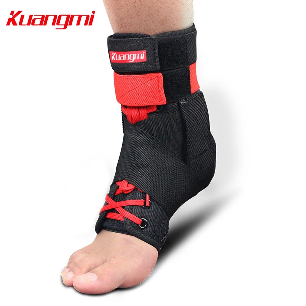 Kuangmi 1 пара лодыжки Поддержка ног охранника Регулируемая лямка на лодыжку Поддержка протектор для травмы растяжение Баскетбол волейбол Фут...