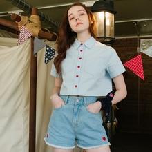 Модная женская блузка с коротким рукавом и милыми карманами в форме сердца, короткие женские блузки и рубашки, летняя Новинка, голубые и белые топы