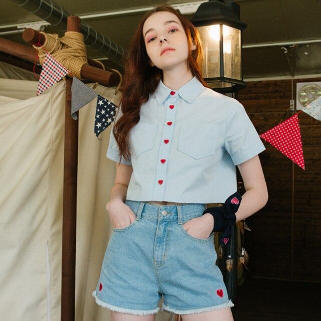 d3e909ed09f Блузка модная женская с коротким рукавом Милая в форме сердца кнопка  карманы короткие блузки женские рубашки