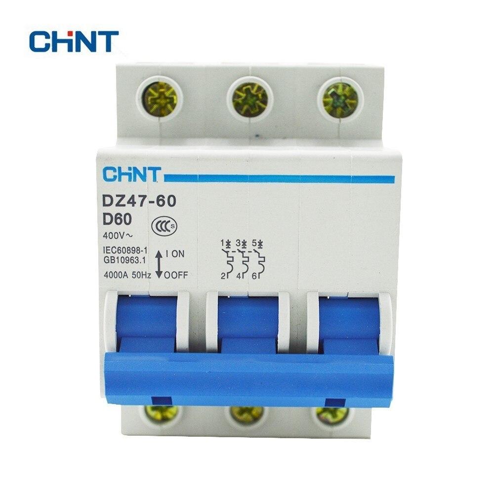 CHINT D Ttpe 60A Miniature Circuit Breaker air switch DZ47-60 3P D60