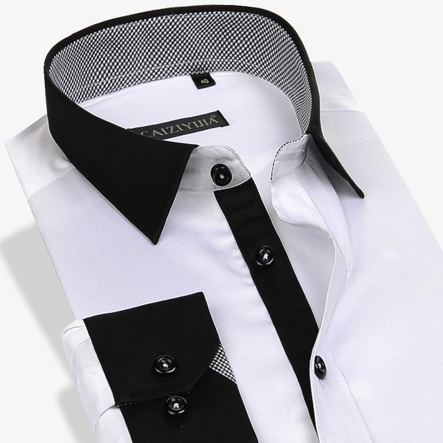 100% Cotton Solid Men Casual Shirt Long Sleeve Slim Fit Patchwork Formal Business Gentleman Black Male Dress Shirts Plus 4XL