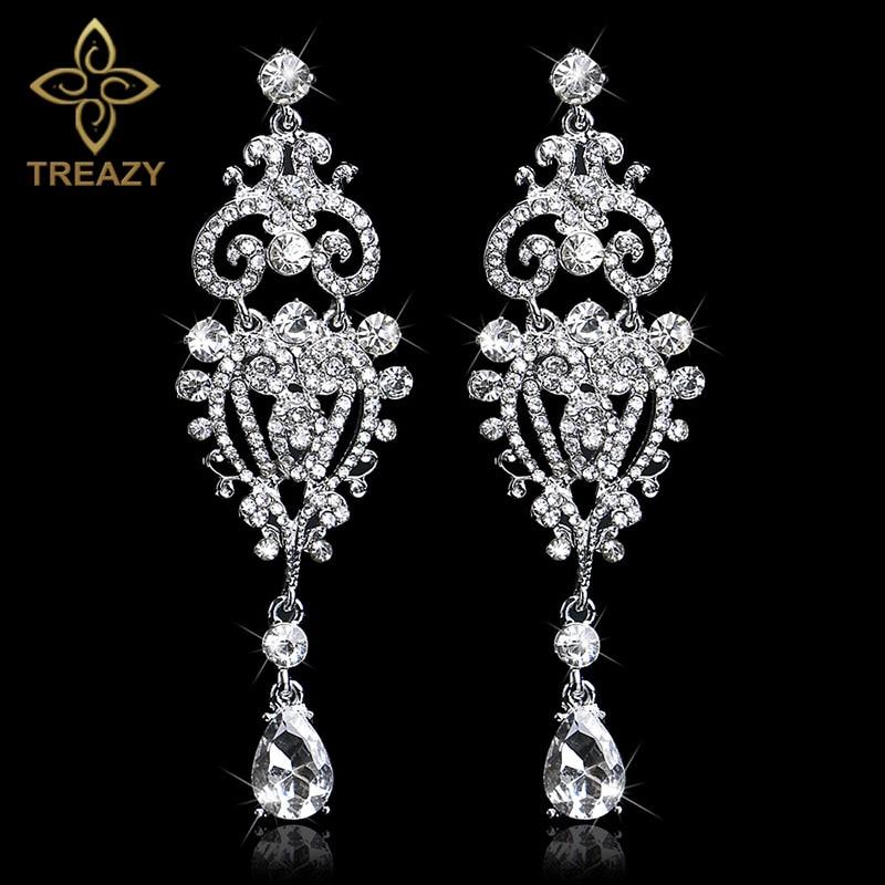 TREAZY Gorgeous Chandelier Crystal Bridal Long Drop Earrings Wedding Jewelry Silver Color Rhinestone Earrings for Women