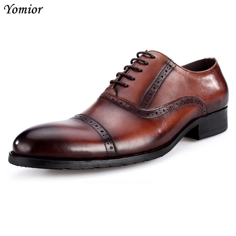 Fashion Men Shoes Genuine Leather Brogue Dress Shoes Brand Luxury Men's Business Casual Classic Gentleman Office Wedding Shoes fashion men shoes genuine leather men casual shoes brand luxury men s business classic gentleman shoes handmade high quality