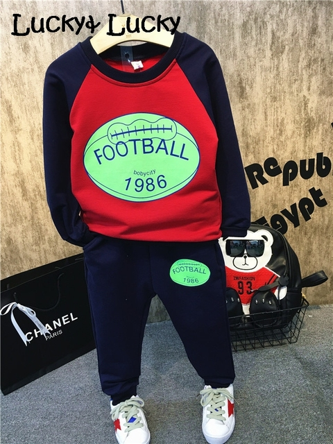 New sport kids clothes football printed t-shirt+ pants for boys and girls long sleeve boys clothes
