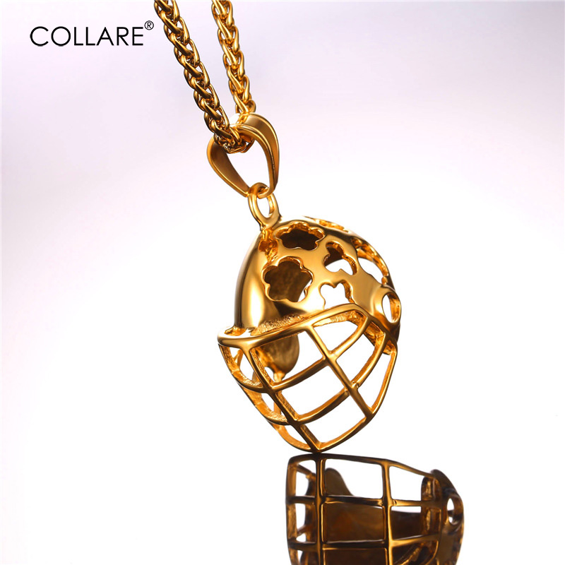 Collare Football Helmet Pendant Gold/Black Color Hockey Caps Stainless Steel Necklace Women Sport Men Fitness Jewelry P030