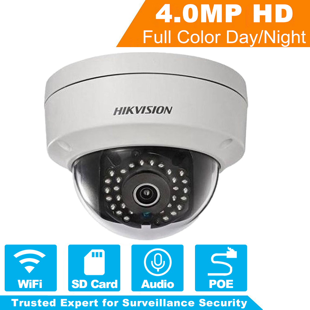 Original Hikvision 4MP WiFi Camera DS-2CD2142FWD-IWS MINI Wireless Dome IP Camera Support Audio and Alarm I/O PoE IP Camera dhl free shipping in stock new arrival english version ds 2cd2142fwd iws 4mp wdr fixed dome with wifi network camera