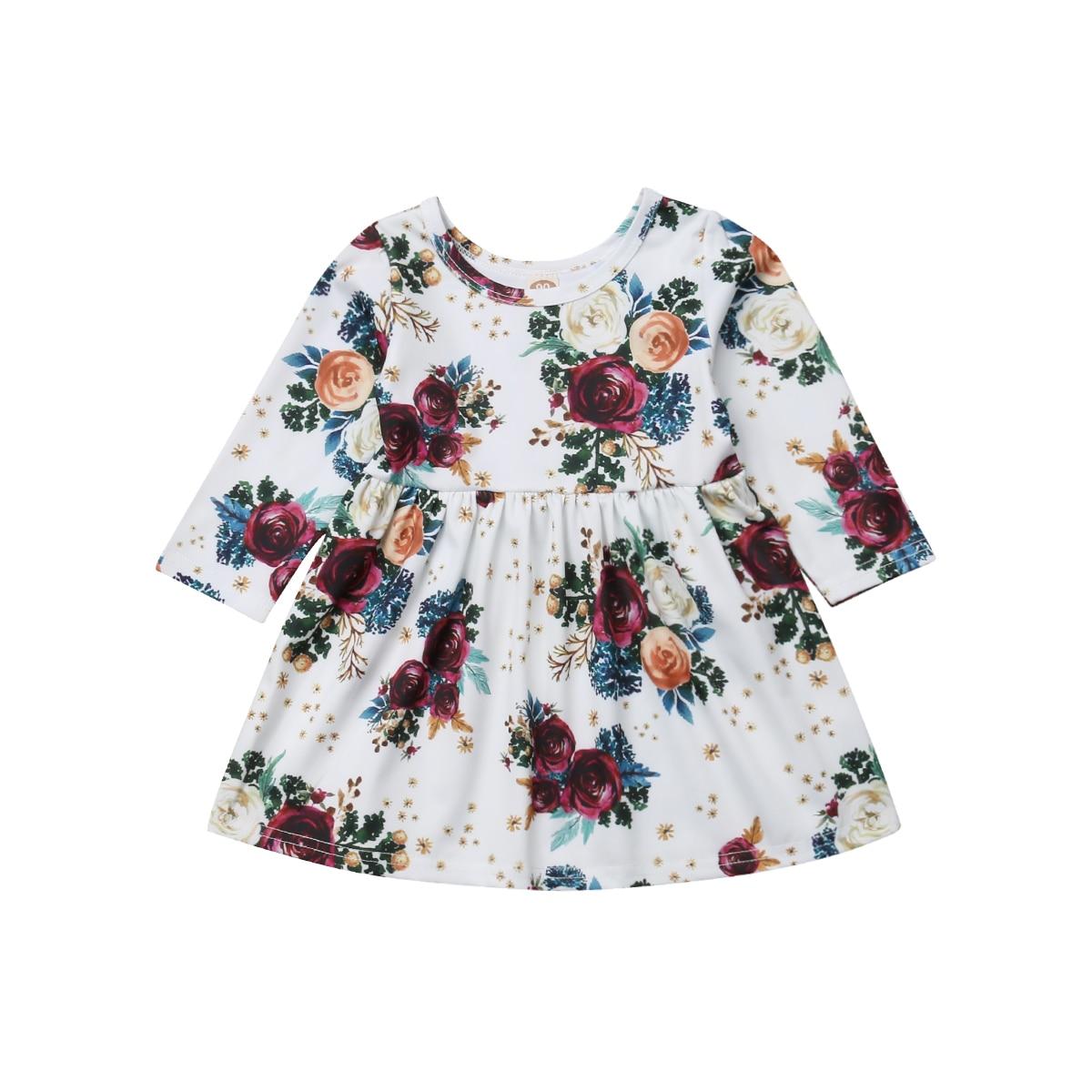 Toddler Baby Girls Floral Dress Autumn Long Sleeve Princess Party High Waist Tutu Mini Dresses
