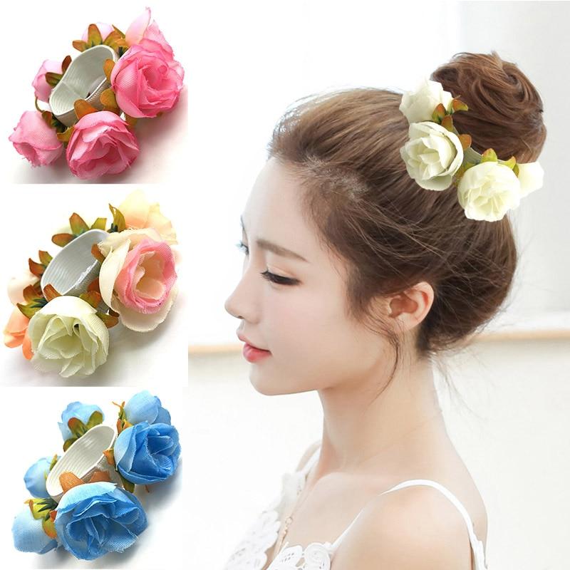 Fashion 1Pc New Arrival Women Rose Flower Elastic Hair Band Beautiful 10 Styles Bride Wedding Hair Circle High Quality Gift