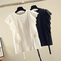 Summer Shirts Women 2019 New Korean T Shirt Elegant Splice Lace Sleeveless Fashion Shirt Girls Student White / Balck Tops Femme