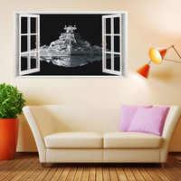 60*100 см космический корабль 3D ложные наклейки на окна стены для детских комнат, спальни, гостиной, фон, украшение дома, Настенная Наклейка
