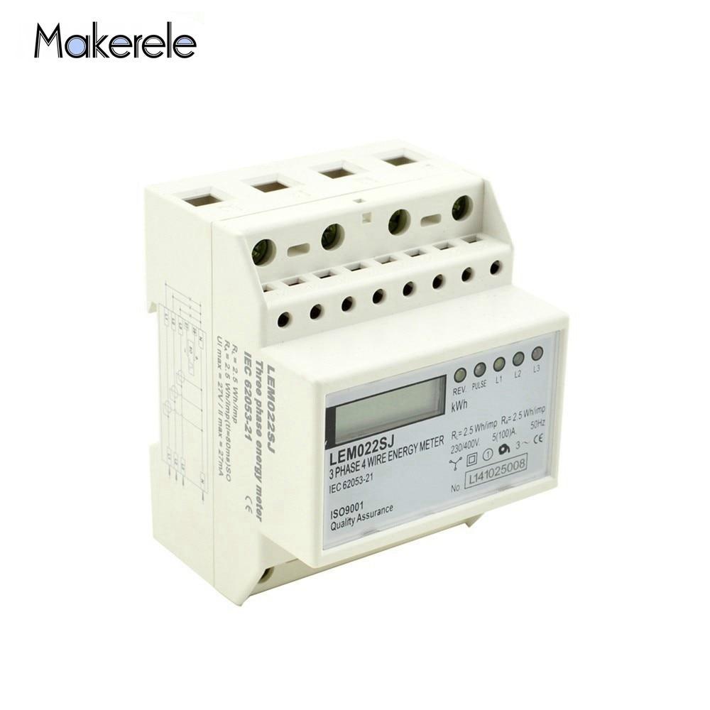 Free Shipping AC 50HZ 230V Small Three Phase Energy Meter Power Consumption MK LEM022SJ Mini Din Rail Electronice Wattmeter Energy Meters     - title=