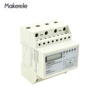 Free Shipping AC 50HZ 230V Small Three Phase Energy Meter Power Consumption MK LEM022SJ Mini Din Rail Electronice Wattmeter