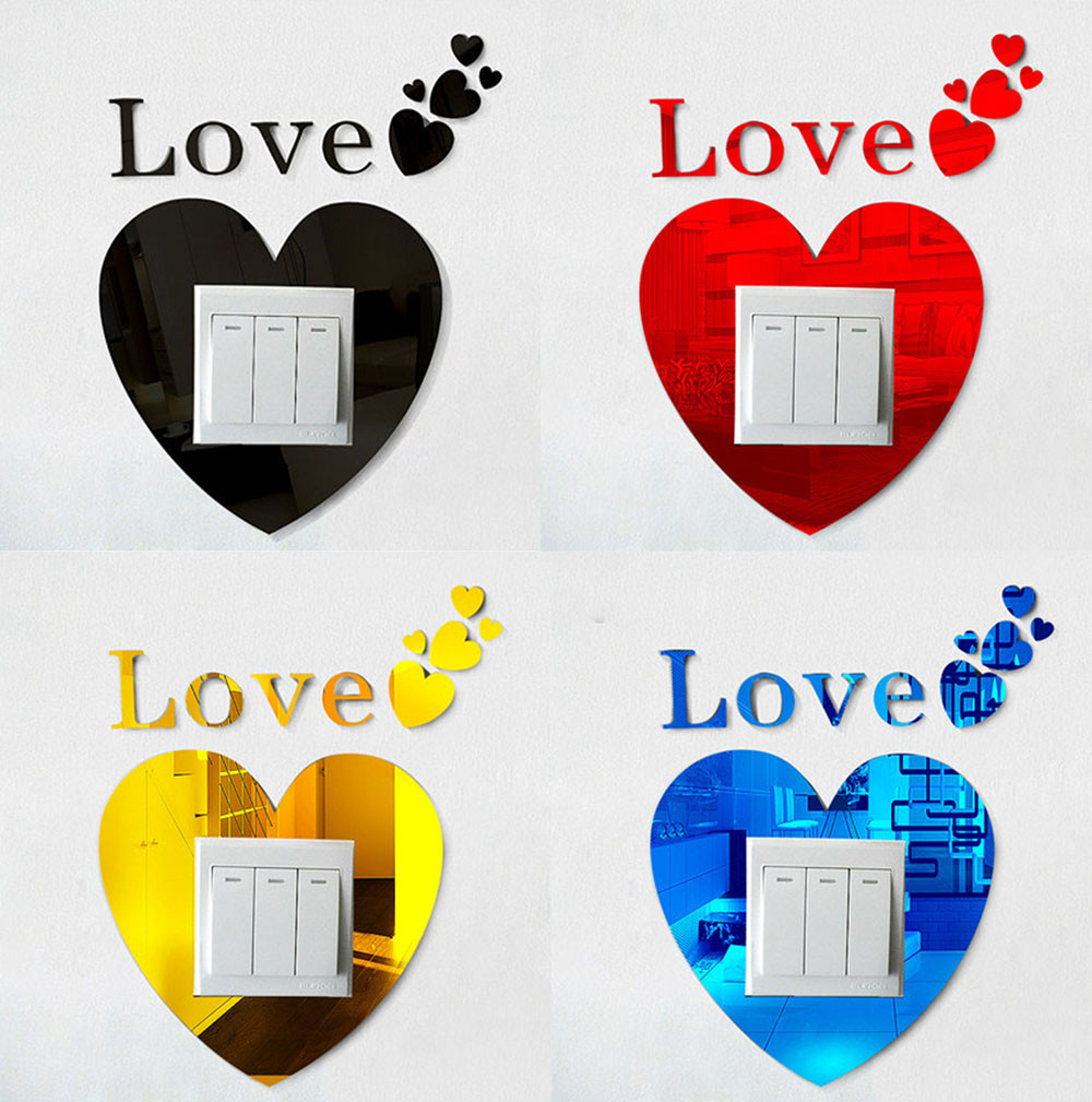 Love DIY 3D Acrylic Crystal font b Home b font Switch Wall Stickers Light Socket Stickers