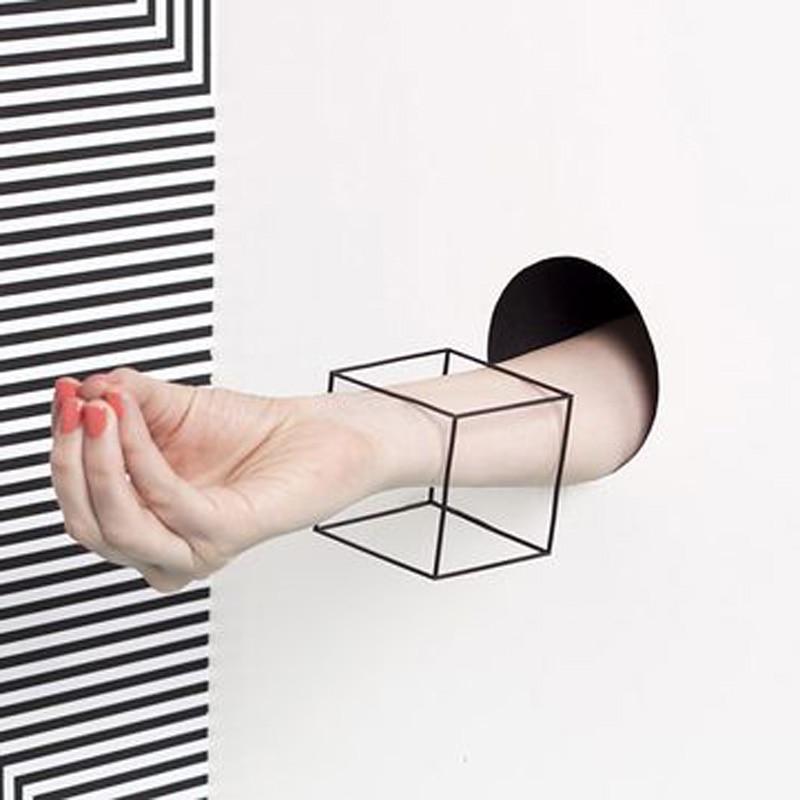 Original Design PUNK Minimalist Unisex Black 3D Cube Cuff Bangle Bracelets For Women Geometirc Gold Silver Square Bracelet Men