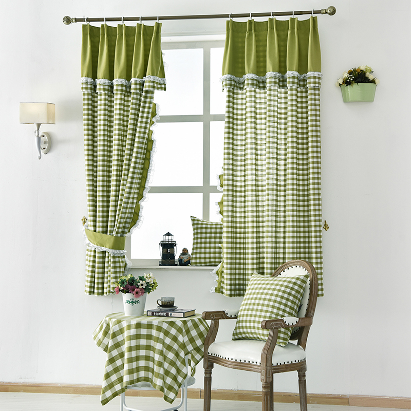 Luxury Linen Short curtains for the kitchen American Style Handmade Curtains For Living Room Window bedroom Lace Curtain Fabric