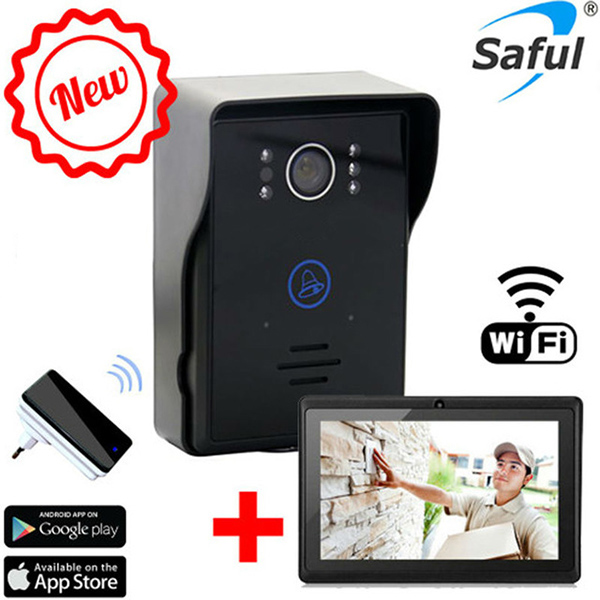 Saful wireless wifi Video Door Phone Intercom+indoor Doorbell +7tablet Wifi Doorbell Camera System With Night Vision 2 7inch indoor monitor wifi wireless video door phone intercom doorbell ip camera pir ir night vision home alarm system remote