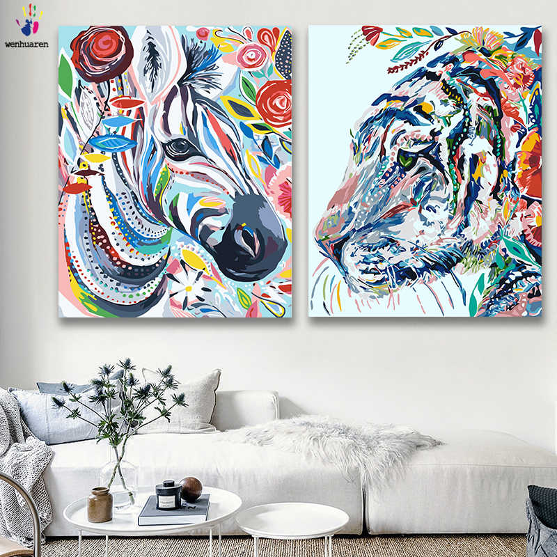DIY colorings pictures by numbers with colors Colored animals bird frog picture drawing painting by numbers framed Home