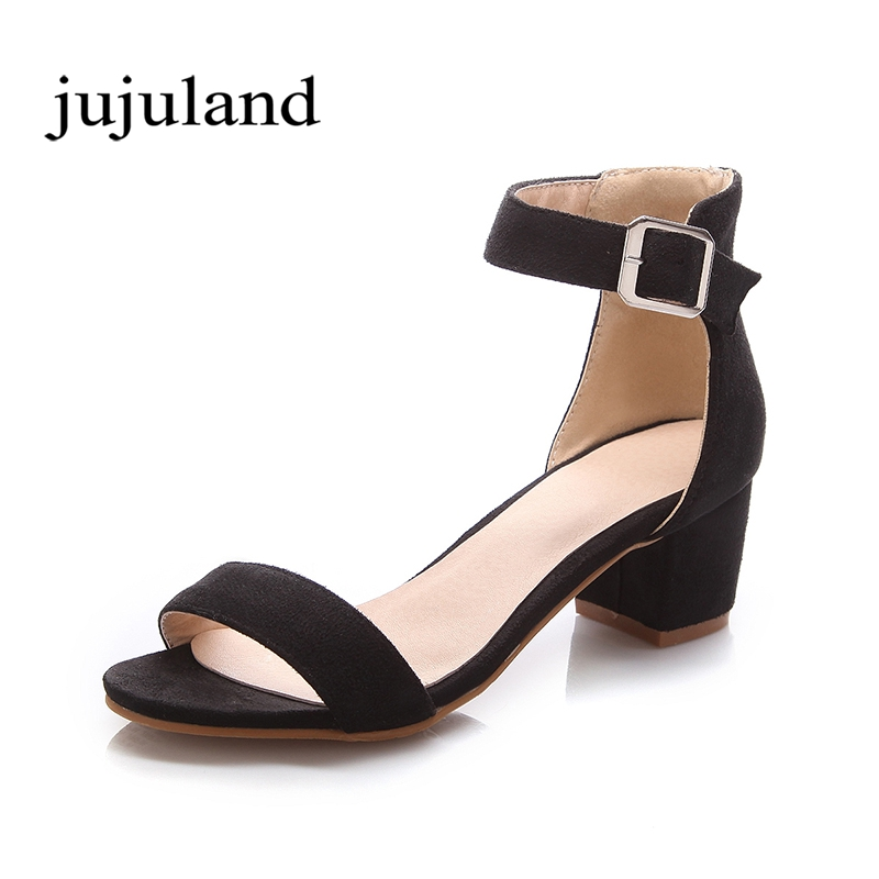 Summer Women Sandals Shoes Flock Nubuck Fashion Casual High Square Heels Big Size Back Strap Buckle Strap Front Rear Strap Solid xiaying smile summer new woman sandals platform women pumps buckle strap high square heel fashion casual flock lady women shoes