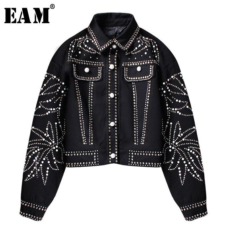 EAM 2019 Spring Woman Handsome Black Turn down Collar Spliced Rivet Diamonds Sequins Long Sleeve