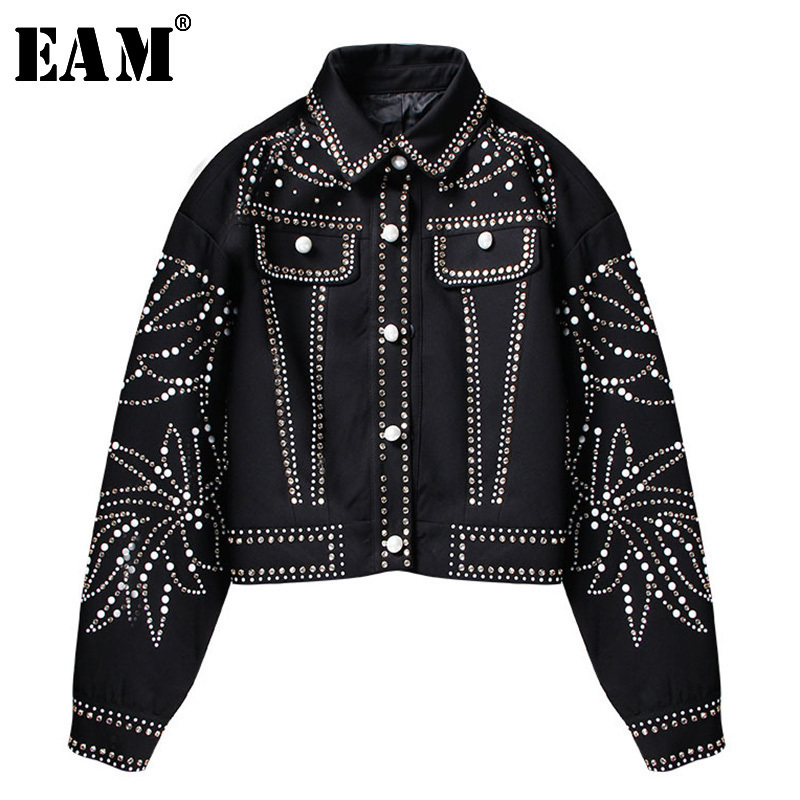 [EAM]2019 Spring Woman Handsome Black Turn-down Collar Spliced Rivet Diamonds Sequins Long Sleeve Loose Coat Jacket LD557