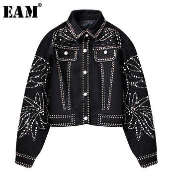 [EAM]2019 Spring Woman Handsome Black Turn-down Collar Spliced Rivet Diamonds Sequins Long Sleeve Loose Coat Jacket LD557 - DISCOUNT ITEM  17% OFF All Category
