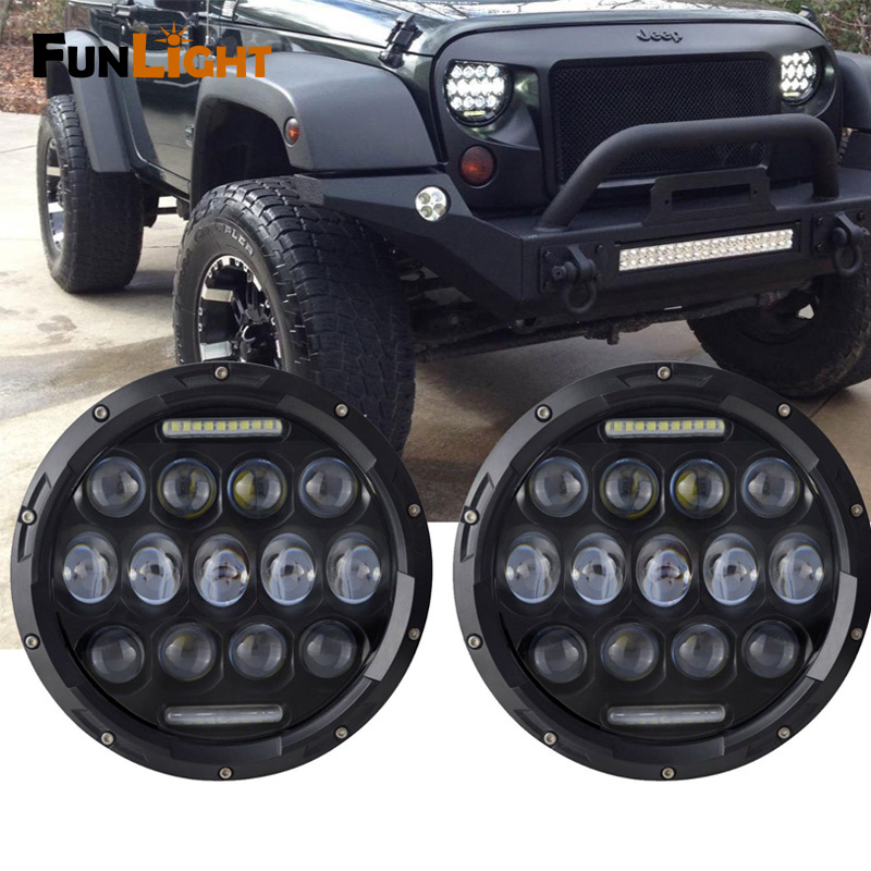 1 Pair 7 Inch Round LED Headlight Lights 75W With White DRL And High Low Beam For Jeep Wrangler JK TJ