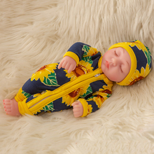 Fit 10 inch Reborn Doll Sunflower Clothes Girl Boy Full Silicone Cute Twins Dolls Lifelike Reborns for Toddler Bathing