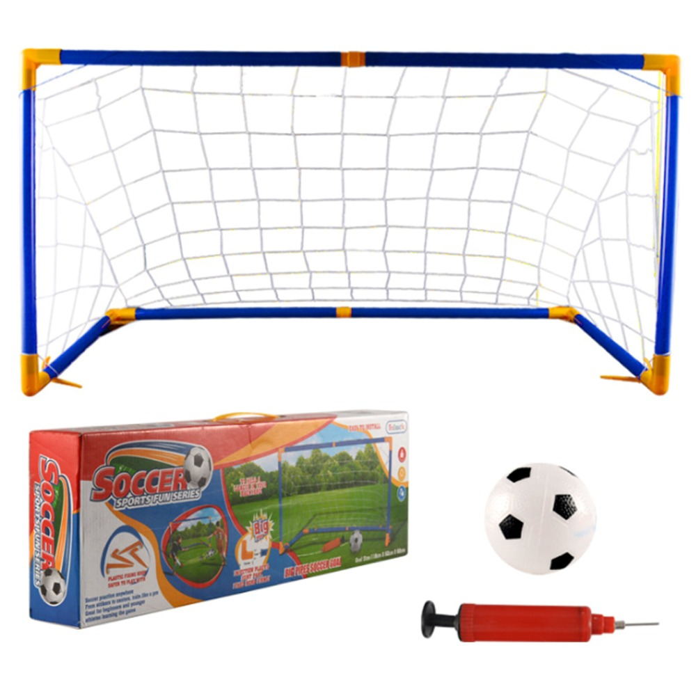 118cm Large Size Portable Folding Children Football Net Door Sports Toys Set Football Gate Soccer Inflator