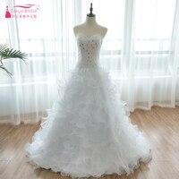 Принцесса Белый Пышные свадебные бальные платья из органзы Sparkly бисера Страна Свадебные платья Vestido De Noiva реальные ZW070
