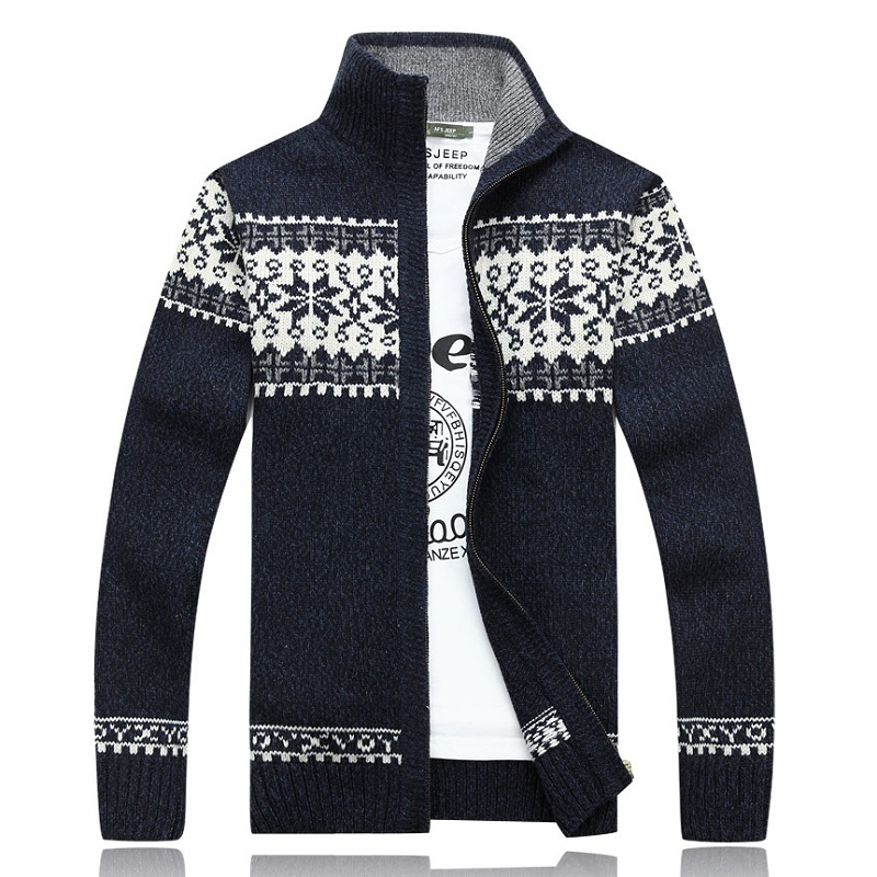 2019 NEW Brand Warm Thick Mens Cardigans Sweaters Fashion Winter Spring Sweater Top Stand Collar Male Slim Casual Dress Knitwear