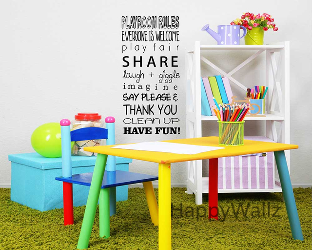 Baby Nursery Quote Wall Sticker Playroom Rules DIY Decorative Vinyl  Children Quotes Vinyl Wall Art Decals