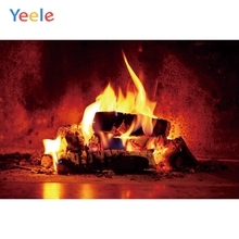 Yeele Merry Christmas Party Winter Fireplace Fire Baby Photo Background Custom Vinyl Photography Backdrop For Studio