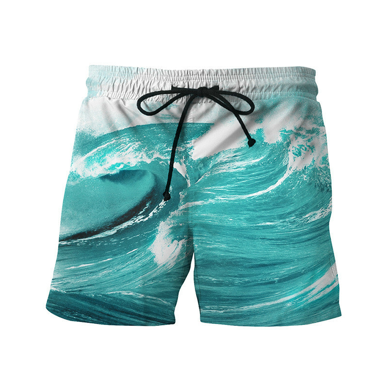 Wholesale-New arrivals Men's casual beach briefs board shorts summer men mens funny print Sea wave blocks short pants 3d shorts