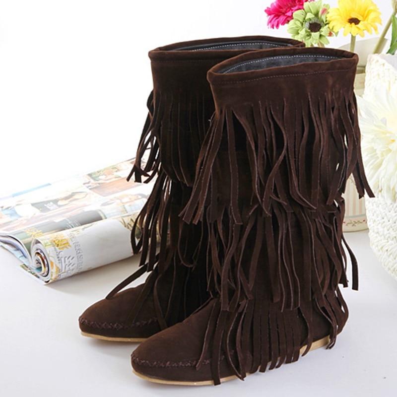 ФОТО Big Size EU43 Women Boots Retro Tassels Boots Female Sweet 2017 New Fashion Korean Version Of  Ladies Fringed Snow Boots #C145