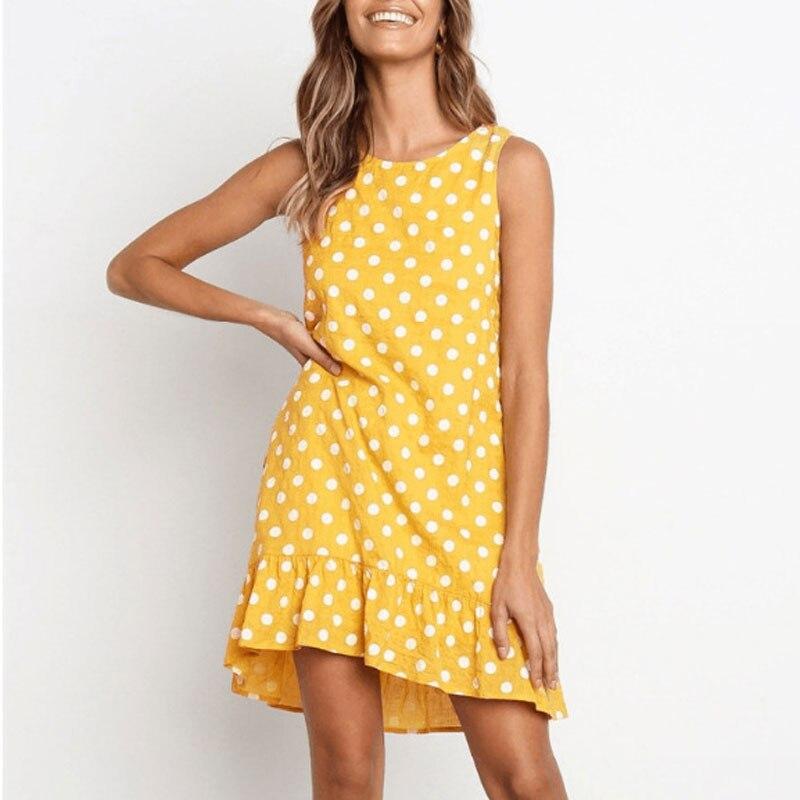 MOSHENGQI Summer Dress Women Vintage Dot Print Beach Dress Vestidos Casual Sleeveless Sundress Holiday Beach Wear