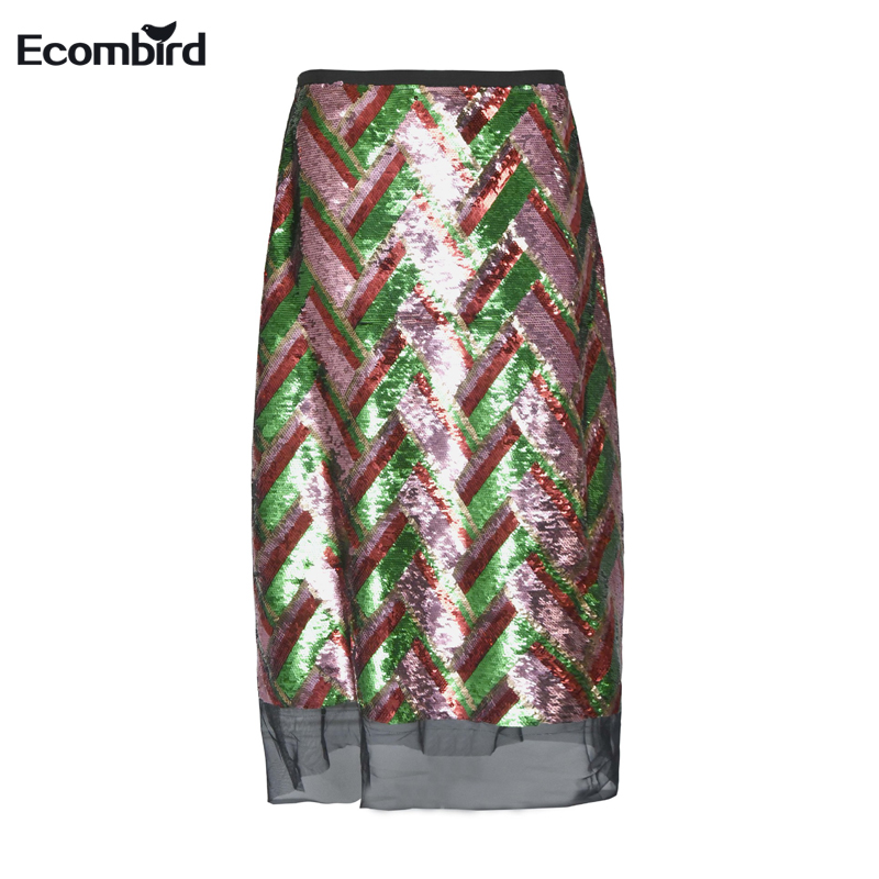 New Luxury Runway Designer Bling Sequin Striped Skirts for Women Hip Skirt Female Midi Long Casual Clothing Faldas Mujer Fashion