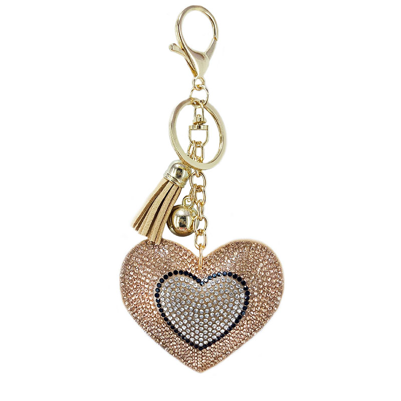 Christmas Bear Heart Keychain Leather Tassel Gold Key Holder Metal Crystal Key Chain Key Ring Bag Auto Pendant Gift Shipping