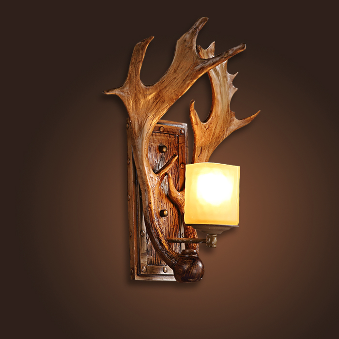 Vintage DIY resin antlers E14 bulb wall sconce lamp American home deco bedroom rustic retro glass lampshade wall light fixture