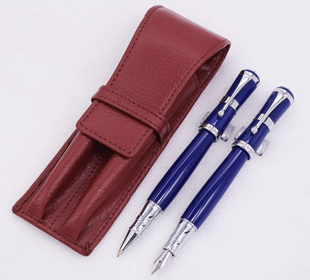 Fuliwen 2051 stylo plume en métal bleu et stylo à bille avec étui à crayons en cuir véritable sac lavé étui à stylo en peau de vache ensemble d'écriture