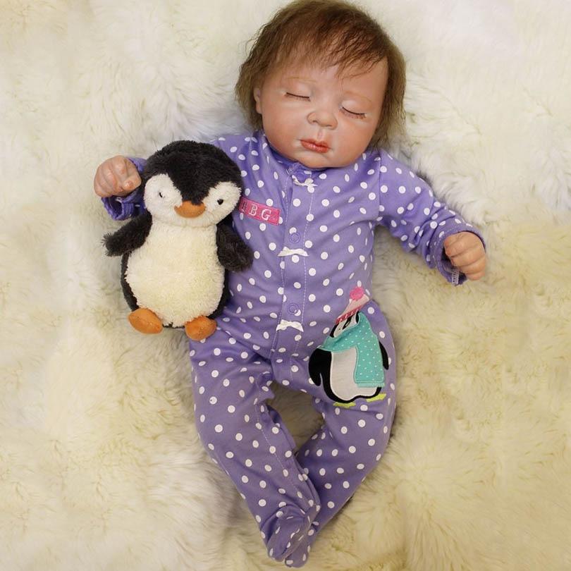 где купить 55CM Sleeping Baby Doll Toy Cotton Body Boneca Reborn Realist Alive Reborn Dolls Silicone Reborn-baby Brinquedos Lovely Birthday по лучшей цене