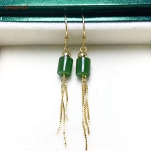 Certified Natural Hetian Jade  Jasper Nephrite Inlaid 925 Sterling Silver Lucky Jade Earrings Green High Quality Wonderful Gifts