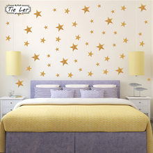 39PCS/1Set Gold Stars Pattern Vinyl Wall Art Decals Nursery Room Decoration Wall Stickers for Kids Rooms Home Decor(China)