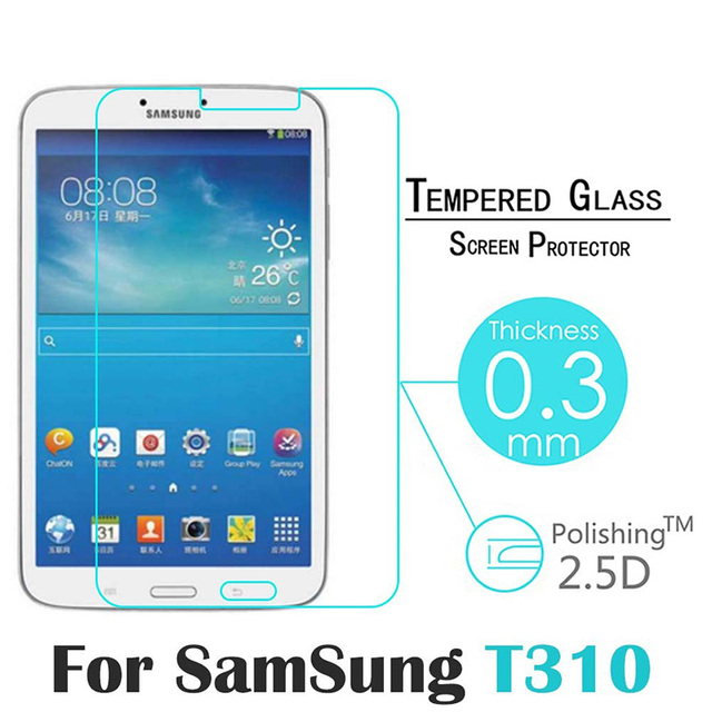 best service eab91 cdf2f US $4.24 15% OFF|9H 2.5D Tempered Glass For Samsung Galaxy Tab 3 T310 T311  8