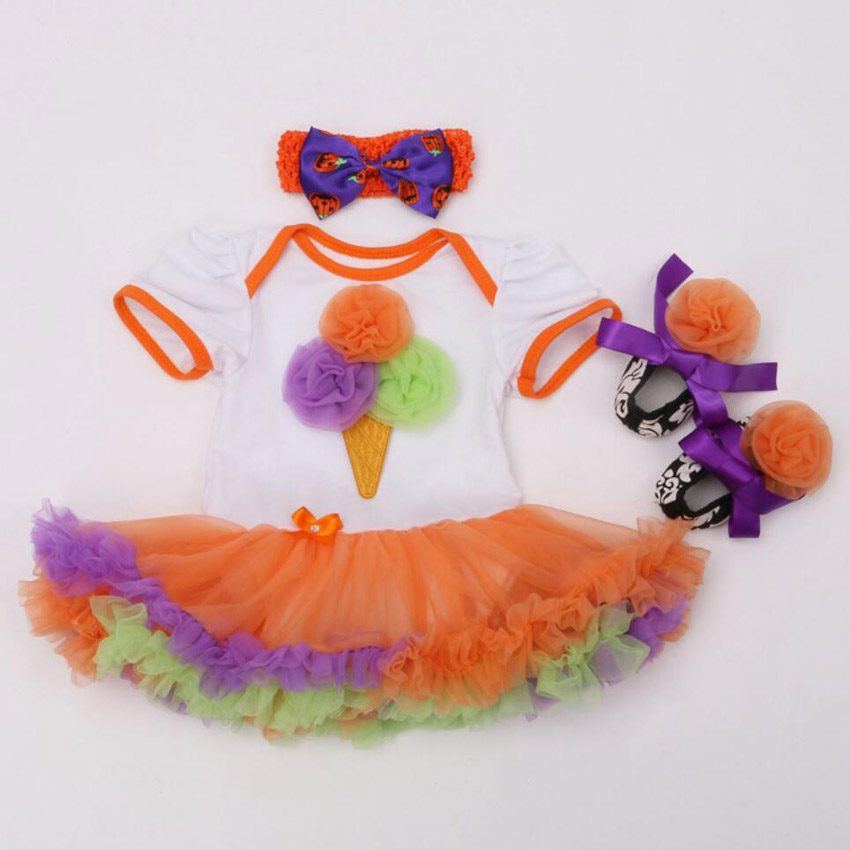 3PCs per Set Baby Girls Orange 1st 2nd Cream Lace Birthday Tutu Dress Jumpersuit Headband Shoes