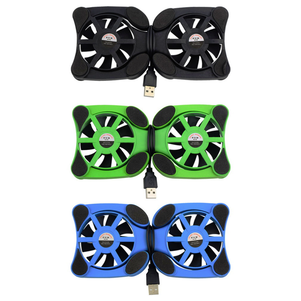 1 PC USB Double Fans Port Mini Portable Octopus Notebook Fan Cooler Cooling Pad For 14 inch Laptop with LED Light