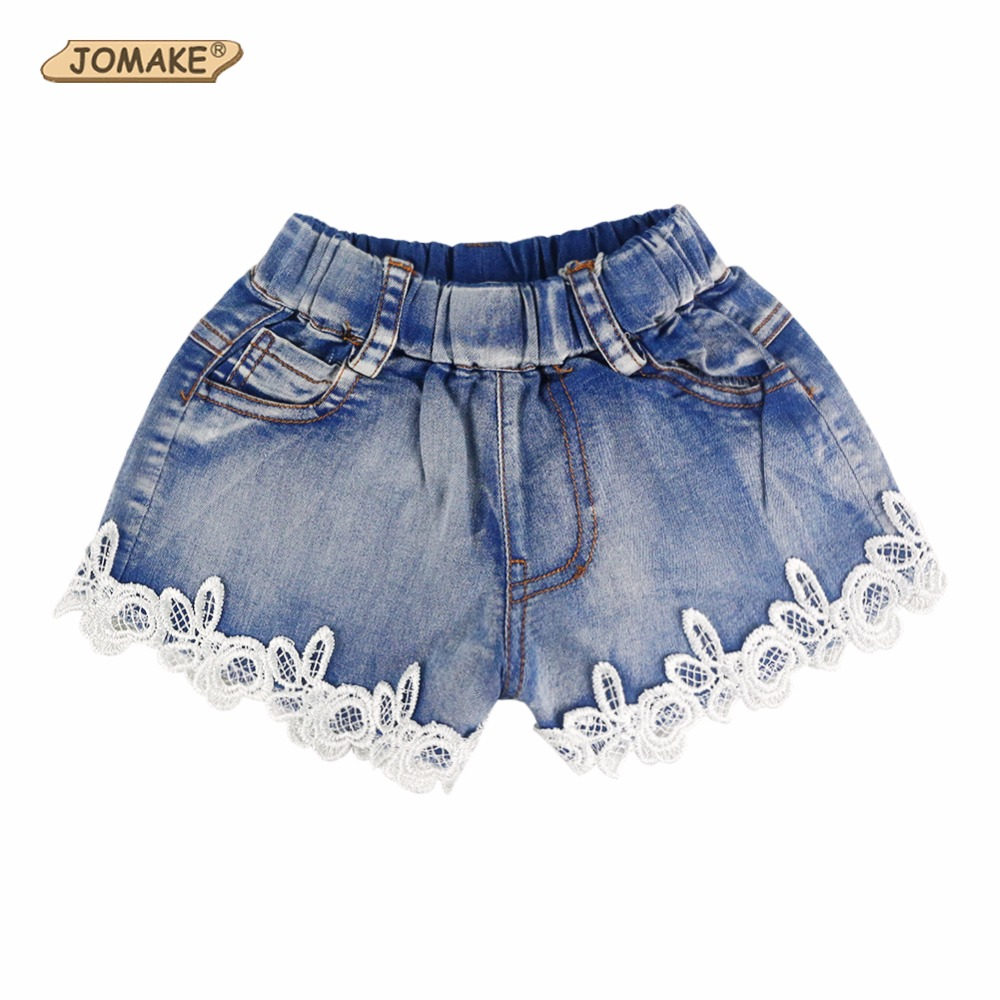 New 2018 Summer Fashion Girls Lace Flower Denim Pocket -8361
