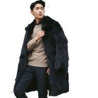 Mens Fur Coat Black Collar Long Sleeve Winter Men Fur Coat Faux Fur Solid Silm Fox